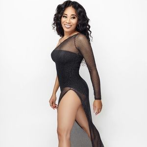Set Mesh Cover Dress and Bodysuit